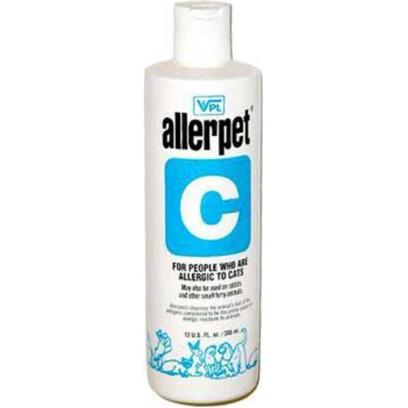 Allerpet Inc. Presents Allerpet/C for Cats 12oz. For People who are Allergic to Cats. Cleanse Cat Hair of Dander and Other Allergens with Allerpet Solutions. Just Dampen a Washcloth, Sponge or Mitt with Allerpet Solution and Wipe over your Cat's Hair, Both with and Against the Way it Lays to Cleanse Hair of Saliva and Dander(the Primary Causes of Allergic Reactions to Pets). Conditions Skin, Too, so Cat doesn't Groom Himself as Often. 12-Oz Bottle Lasts Approximately 3 Months. [17843]