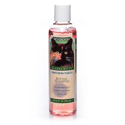 Bio Groom Presents Kuddly Kitty Shampoo for Cats and Kittens-8oz 8oz. Kuddly Kitty Shampoo is a Soap Free Conditioning Shampoo for Kittens. This Pure and Natural Shampoo Cleanses Thoroughly and Effortlessly without Stripping the Natural Protective Oils from Skin and Coat. Kuddly Kitty Shampoo Leaves the Coat Fluffy and Fresh. Rinses out Quickly and Completely for Those Impatient Kittens. Helps Control Body Odors, Kuddly Kitty Shampoo is Ph Balanced and Leaves no Irritating Residue. [17844]