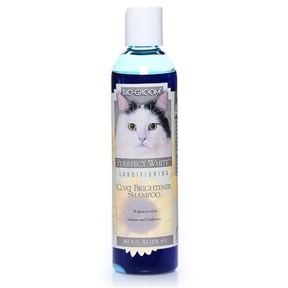 Bio Groom Presents Perfect White Shampoo for Cats 8oz Bio. A Coconut Oil Base Formula Enriched with Protein, Purrfect White Cat Shampoo is a Non-Irritating, High Quality Shampoo Specifically Developed for White and Light Colored Coats. Special Whiteners and Pearlescent Brighteners Add Brilliance and Sparkle to the Coat. Purrfect White Cat Shampoo is Unconditionally Guaranteed to Leave the Coat Clean, Smooth and Easy to Manage. The Protein in this Mild Coconut Oil Base Formula Gives Life and Body to the Coat and Helps Prevent Dryness. Rich and Foamy, it has a Neutral Ph, is Non-Bleaching and Controls Matting, Tangling and Fly-Away Hair. Purrfect White Cat Shampoo Rinses out Quickly, Leaving the Coat with a Fresh, Clean Smell. [17845]