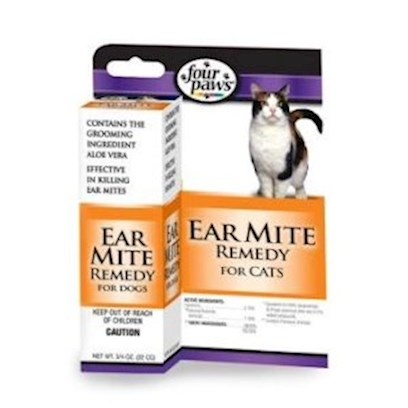 Four Paws Presents Four Paws Ear Mite Remedy for Cats 1oz Cat. Four Paws Ear Mite Remedy for Cats Kills Ear Mites and Aids in Ear Wax Removal for Cats. It is an Organic Formula that does not Contain Pesticides. Four Paws Ear Mite Remedy for Cats Contains Aloe Vera, which Provides a Gentle, Cool Balm. Ear Mites Normally Cause a Dry, Dark Brown, Waxy, Exudate in the Ears of Cats. The Mites are Easily Observed by Placing some of the Ear Exudate on a Dark Surface and Watching Carefully for White Specks Walking Away. To Kill Ear Mites and Aid in the Removal of Ear Wax Apply 5 Drops of Solution in Ear and Gently Massage Base of Ear for 3-5 Minutes. Leave Solution in Ear for Another Few Minutes and the Allow Cat to Shake its Head to Remove as Much Solution as Possible. Wipe the Remainder of the Liquid from the Ear with Cotton. Repeat Treatment Every Other Day Until Condition is Relieved. Improvement is Usually Noted After Two Applications. This Solution Applied Twice Monthly will Reduce the Possibility of Ear Miteinfestation and the Accumulation of Ear Wax. Do not Use on Cats under 12 Weeks of Age. [17857]
