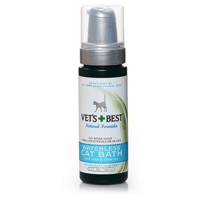 Bramton Company Presents Vets Best Waterless Cat Bath 4oz. Extra Help for Cleaner Kitties! This Gentle Blend, with its Appealing, Calming Fragrance, Acts as a Soothing Natural Cleanser and Moisturizer for Skin and Fur. It also Works without Affecting Topical Flea Protection. [17869]