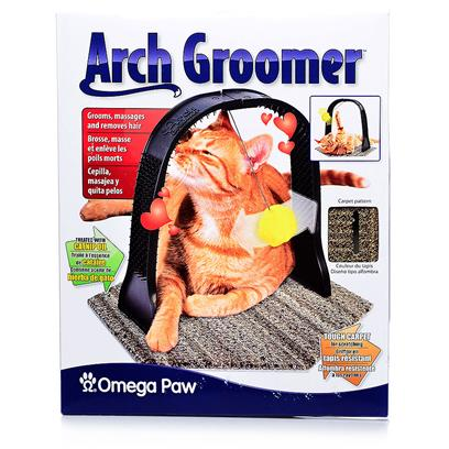Omega Paw Presents Arch Groomer. This &quot;Hands-Free&quot; Groomer has an Arch Covered with Nibs Inside and out for Cats to Rub Up Against. Cat Nip Oil is Impregnated into the Plastic to Grab a Cats Attention. Dimensions 16.25&quot; X 11&quot; X 10.75&quot; [17893]