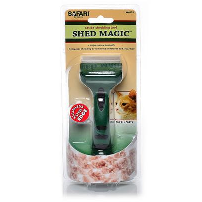 Safari Presents Safari Shed Magic Cat de-Shedding Tool Desheddr. Decrease your Cat's Shedding by Brushing Weekly with the Safari Shed Magic de-Shedding Tool. Shed Magic Removes Loose Hair and Debris, and can also Reduce the Irritants that Cause Allergies to Pets. The Ergonomic Design Allows for a More Comfortable Grip. [17900]