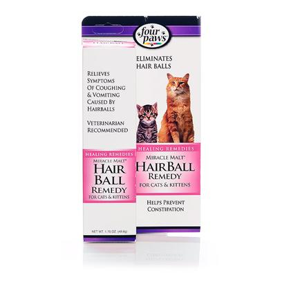 Four Paws Presents Miracle Malt Hairball Remedy 2oz. Four Paws Miracle Malt Aids in the Prevention and Treatment of Hair Balls in Cats and Kittens. Designed to Act in Two Ways, to Prevent Constipation which Sometimes Causes Hair Balls to Form, and to Help Eliminate any Accumulated Hair, our Product is Effective and Extremely Gentle. 1.75 Oz. Tube (49.6g) 1 3/4 Oz. [17904]
