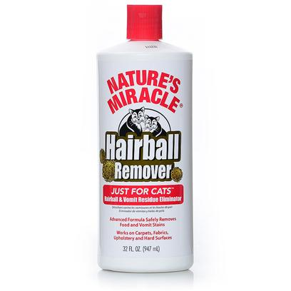 Nature's Miracle Presents just for Cats Hairball Remover 32oz Bottle. Contains High Concentrations of Protease Producing Bacteria to Target and Break Down Proteins Contained Specifically in Vomit, Hairballs &amp; Food Stains Lift-Action Completely Eliminates Remaining Residue  Contains Oxy to Remove Stains that Maybe Caused Food Coloring [17905]