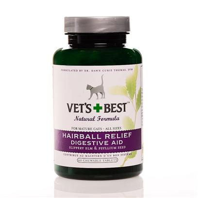 Bramton Company Presents Vets Best Hairball Relief Tabs 60ct. Absolutely no Petroleum-Based Ingredients! Our Hairball and Digestive Aid Helps Support a Cat's Healthy Digestive Tract. This Wonderful Formula Helps Prevent and Eliminate Hairballs Using Herbs that Lubricate Naturally. [17908]