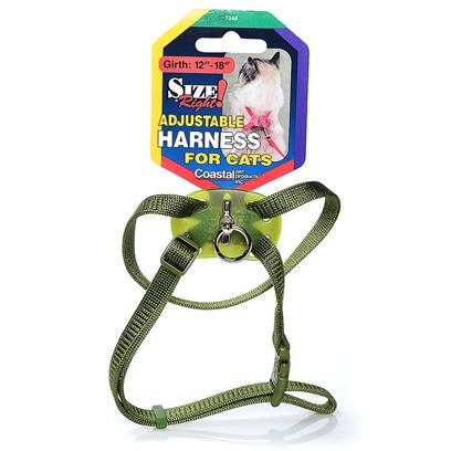 Coastal Presents Coastal Size Right! Adjustable Harness for Cats Blue Lagoon. The Size Right Cat Harness is Completely Adjustable. This Figure-8 Style Harness Allows the Neck and Girth to be Perfectly Sized. A Comfort Fit Pad with Swivel Ring Allows the Feline to Move Freely without the Lead Tangling under its Legs. Offered in the Most Popular Colors, Coastal's Size Right Harness is Simple to Use. Just Place it over the Cat's Head and Snap the Buckle. Safe and Comfortable, Coastal's Size Right Harness is Unconditionally Guaranteed. [17912]