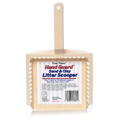 Four Paws Presents Handguard Litter Scoop-Large Large. This is the only Litter Scooper with a Patented Guard in the Back that Protects Hands from Touching the Cat Litter. It can be Used on Every Type of Litter Including Sand and Clay. [17958]