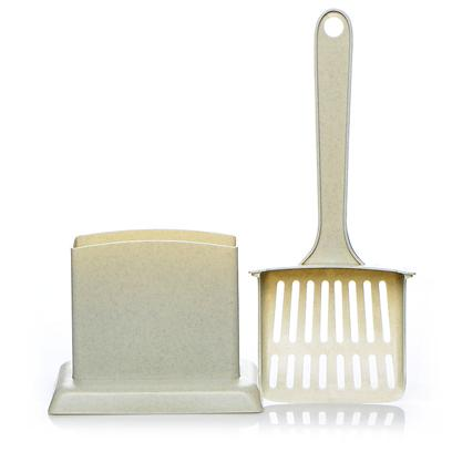 Petmate Presents Handy Stand Litter Scoop. 6 X 12 X 3.8 in Bone [17976]