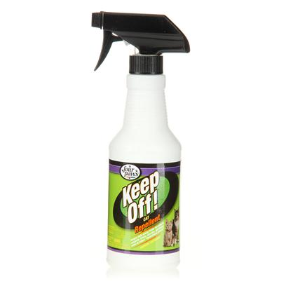 Four Paws Presents Four Paws Keep Off! Cat Repellent 16oz Spray Bottle. Keep Off! Repellent for Cats &amp; Kittens is a Perfect Aid for Training Cats to Stay off Furniture,Draperies, Counters, Table Tops and More. Helps Keep Cats Away from Houseplants, Outdoor Plants and Other Undesirable Areas. Repels Cats for Up to 24 Hours when Applied Daily. Safe &amp; Effective for Use Indoors &amp; Outdoors. [17987]
