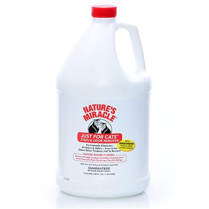 Nature's Miracle Presents Natures Miracle just for Cats 1gallon. Guaranteed to Permanently Eliminate all Stains &amp; Odors from Cat Sprays, Vomit and Other Accidents - Even Urine Odors Other Products Fail to Remove. Nature's Enzymes Completely Eliminate Odors with no Perfume Cover-Up, Discouraging New Pet Soilings. Will also Work on Old an D Deep-Set Stain &amp; Odors. [18020]