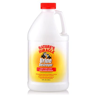 Nature's Miracle Presents Nature's Miracle Urine Destroyer-Cats 1gallon. Specially Formulated Urease Producing Bacteria Targets Strong Cat Urine. This Advanced Formulation Works Fast to Remove Yellow Stains and Stickiness Caused by Urine and Spraying--So you don't have To. Formula Continues to Work Until all Traces of Urine and Urine Order are Eliminated. 1 Gal also Available in 32 Oz Size [18023]