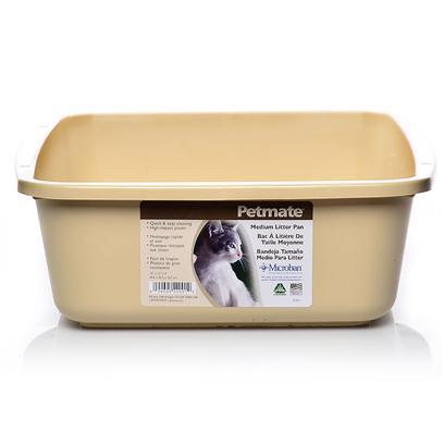 Petmate Presents Cat Litter Pan Small (14.1' X 10.4' 3.5'). Small Size is Great for Kittens; Durable and Lightweight. Tan, Pure White, Planet Blue [18067]