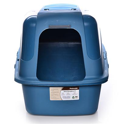 Petmate Presents Kitty Komplete Hooded Pan Set-Blue Jumbo. 21x17x18 Twilight Blue [18102]