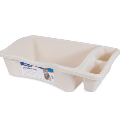 Petmate Presents Litter Pan with Rim Large (18.5'l X 15.3'w 6.8'h). Sturdy Plastic Petmate Litter Pans with Rims are Available in Two Sizes and Cream Color Only. [18115]