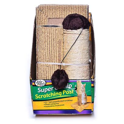 Four Paws Presents Four Paws Scratching Post with Catnip 20'. One Reason that Cats Naturally Like to Scratch Things is to Trim their Claws. The Four Paws Scratching Post with Catnip is Perfect for Cats to Maintain Healthy Claws. Cats Claws are Constantly Growing, and they Regularly Claw at all Sorts of Things to Get Rid of the Sheath Encasing Each Claw. Unfortunately, they Occasionally Claw at your Furniture. TheyLl Want to Scratch at this Post to Gain Access to the Catnip Within, but theyLl also Enjoy Grooming their Claws. YouLl Love this Post because it will Help Keep your Cat Happy and your Furniture Safe. [18123]