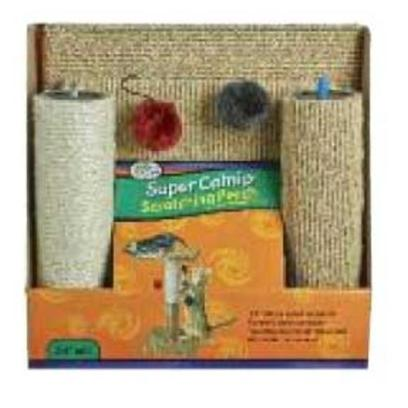 "Four Paws Presents Super Catnip Scratch Perch Fp Spr Catnp. Four Paws Super Catnip Scratching Perch Features Carpeted Base and Top Perch Along with a Sisal and Carpeted 24"" Tall Scratching Post, Complete with 2 Hanging Catnip Plush Rattle Balls. All Priced to Sell and Retail Space Efficiently Packaged. [18128]"