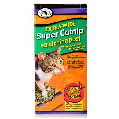 Four Paws Presents Super Catnip Scratching Post-Extra Wide Extra Post. Our Super Catnip Scratching Posts Includes 2 Reversible Scratching Pads, Therefore Flip over Each of the Pads and you Get Four Times the Fun. Enclosed in Each Pad is a 0.75 Oz Bag of Catnip for your Cat's Added Enjoyment. Cats Love to Scratch and Claw Anything they can and that Includes your Furniture and Many Other Things in your Home. Scratching is a Way for them to Get Rid of the Sheath Encasing on their Claws. Providing your Cat with this Scratching Post will Encourage your Cat to Scratch the Post Instead of your Furniture. [18129]