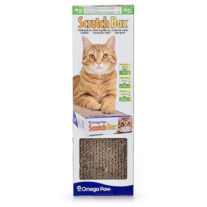 Omega Paw Presents Omega Cardboard Scratcher Scratch Box Everest. The Scratch Box Everest is a Refillable Scratch Box. The Base Holds the Cardboard Scratching Pad that Cats Prefer for Scratching. [18143]