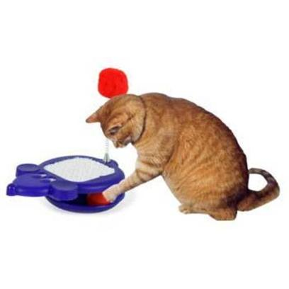 Omega Paw Presents Scratcher Mouse Pompom &amp; Track Ball Omega Whirly Jr. The Whirly Mouse Jr. Expands on the Fun of the Mouse Pom by Adding a Whirling Track Ball Base. Mouse-Shaped Toy is Made of Durable Carpet and Plastic. Includes a Spring and Jingle Pom Tail that Moves at the Slightest Bat. [18146]