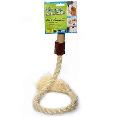 "Ware Manufacturing Presents Cattachment Enhancement Sisal Rope Scratcher 24'. Sisal Scratch Surface Drive Cats Wild. Challenges Cat's Climbing Skills. 3.75""W X 2""D X 27.75""H 1.15lbs [18156]"