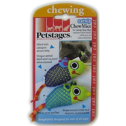 Petstages Presents Petstages Catnip Chew Ring Mice. Cats are Carnivores, so the Health of their Teeth is Very Important. Pestages Catnip Chew Ring is a Fun Way to Help Keep your Cats' Teeth Clean. Your Cats will Find this Toy Irresistible because of its Contents Catnip! The Sturdy Nylon Construction is Resistant to Tearing from your Cats' Teeth, but will Allow them to Pierce the Fabric and Access the Catnip Within. The Creative Circle Design Allows your Cats' 360 Degrees of Chewing Vantages from which to Choose. Inside, the Catnip Stems will Work Against Tartar and Plaque Buildup through Regular Use. Frilled Nylon Extends from Three Different Directions, Allowing for Additional Chewing and Interactive Batting Fun if you Want to Play with your Cats. [18261]