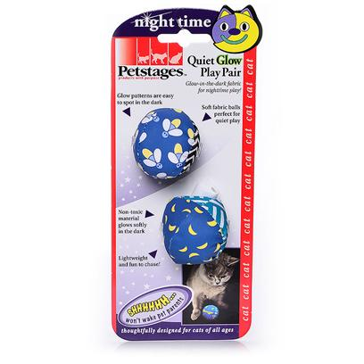 Petstages Presents Petstages Quiet Glow Play Pair. Glow Patterns are Easy to Spot in the Dark. Soft Fabric Balls for Perfect Quiet Play. Non-Toxic Material Glows Softly in the Dark. Lightweight and Fun to Chase. [18274]