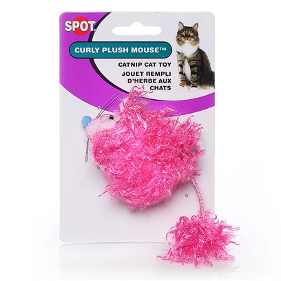 Ethical Presents Spot Curly Plush Mouse with Catnip. Fuzzy and Furry Catnip Toys Shaped Like Fat Mice. [18294]