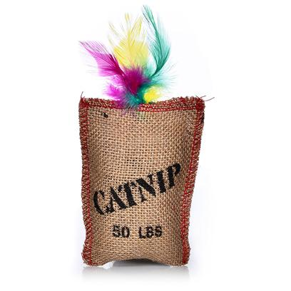 Ethical Presents Jute & Feather Sack with Catnip Toy. Fun Catnip Filled Jute Sack with Feathers. Fun for Hours. [18299]