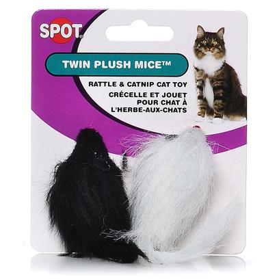 Ethical Presents Miami Mice Twin Plush Black &amp; White. Twin Miami Mice, Fuzzy Real Looking, Fun, Fun! [18300]