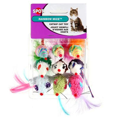 Ethical Presents Catnip Rainbow Mice 3 Pack. 9 Pack Mice with Catnip in Brite Rainbow Colors [18305]
