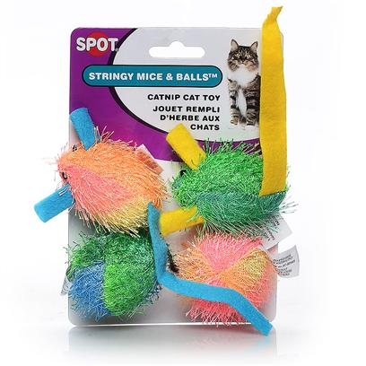 Ethical Presents Catnip Stringy Mouse & Ball 4 Pack. Colorful Stringy Mice and Balls with Catnip [18312]