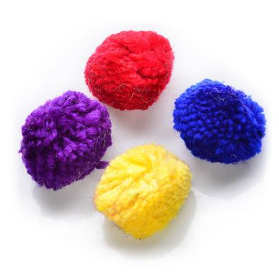 Ethical Presents Catnip Wool Pom (4pk) 4 Pack. Assorted Color Pom Poms with Catnip, Great Balls of Fun! [18313]