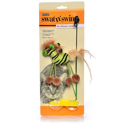 Petmate Presents Petmate/Booda Swat 'N Swing Booda N Lion. The Booda Swat 'N Swing is an Exciting Catnip Toy Connected to a Rod and Suspended from Two Suction Cups that Easily Attach to any Smooth Surface. Each Fun-Loving Character Provides Hours of Engaging Entertainment for your Feline! [18332]