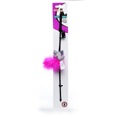 Ethical Presents Spot Feather Boa Toy with Wand & Catnip. 2 Toys in 1, Safety Clip Snaps off Cord for Solo Cat Play. [18359]