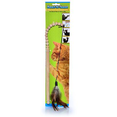 Ware Manufacturing Presents Bead-N-Tease Dangler Wand Toy Cat. Hours of Interactive Fun with Kitty. [18367]