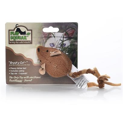 Our Pets Company Presents Ourpets Play-N-Squeak Toy Braidycat Mouse. This Mouse's Fleecy Braided Tail will Keep your Cat Busy Stalking, Chasing and Pouncing for Hours. In Addition, it Features Realmouse™ Sound for Added Fun and Mouse-Y Mayhem! [18378]