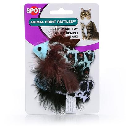Ethical Presents Spot Animal Print Rattle W Nip 2pk. Fuzzy and Furry Catnip Toys Shaped Like Fat Mice, Balls and Fish. Filled with Catnip. [18381]