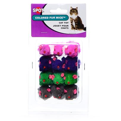 Ethical Presents Spot Colored Fur Mice 12 Pack. Colorful Fur Mice, Soft & Fuzzy Real Looking with Catnip. [18382]