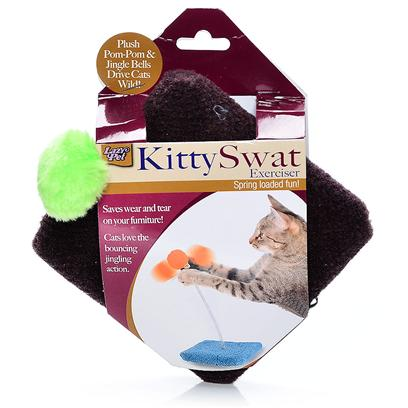 Lazy Pet Presents Lp Kitty Swat Exerciser. Carpeted Square Base Cats Love to Scratch Spring Action Jingle Bell and Pom-Pom Corrugated Sleeve for Pegging [18417]