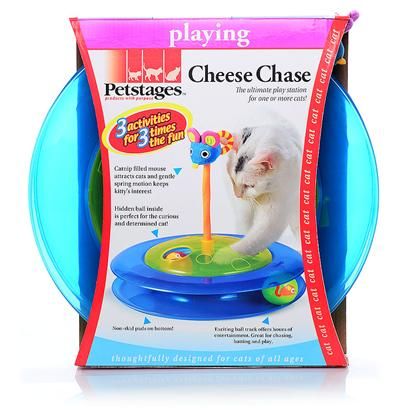 Petstages Presents Petstages Cheese Chase. Offers Three Distinct Activities for your Cats to Enjoy. There is a Ball Housed in the Base of the Cheese Chase. The Base has Two Ports, Allowing your Cats to Reach in and Teach the Center Ball a Lesson. The Cheese Chase is Encircled by a Translucent Track in which Another Ball Rolls, Displaying a Mischievous Mouse. Topped off with a Plush, Catnip Stuffed Mouse on a Spring, the Cheese Chase Offers Formidable Fun in a Unique Design. [18424]
