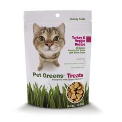 Bellrock Growers Presents Pet Greens Crunchy Cat Treats 3oz Bellrock Crunch Treat Turkey. Our New Crunchy Cat Treats are a Tasty Way to Help Control Tartar and Maintain that Winning Smile! Available in Chicken Pot Pie, Turkey &amp; Veggie and Seafood Salad Recipes, Crunchy Pet Green Treats are the only Cat Treats Made with Wheat Grass, an Excellent Source of Green Nutrition. Available in 3 Oz. Bags. 3 Oz Bag Grain Free; no Wheat Gluten no Soy all Natural with no Artifical Colors or Flavors. Crunchy Recipe Helps Control Tartar Safe Alternative to Potentially Harmful Houseplants and Chemically Treated Outside Grasses. [18509]