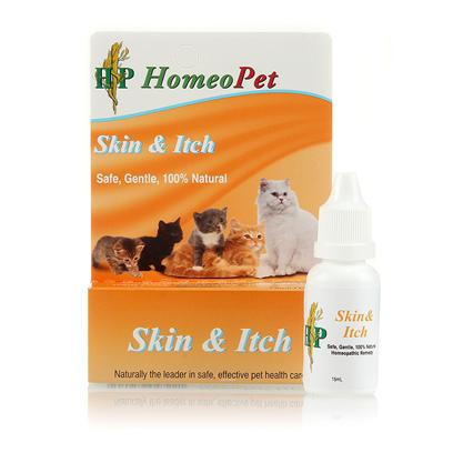 Homeopet Presents Homeopet Skin &amp; Itch Feline. This Skin and Itch Remedy for Cats is Formulated to Reduce a Variety of Cat Behaviors Including Biting, Licking, Scratching, Gnawing, and Chewing. Helps to Reduce Hair Loss and Skin Irritation. [18543]