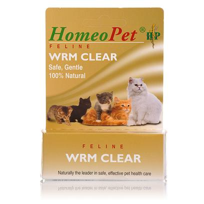 Homeopet Presents Homeopet Worm Clear for Cats 15ml. Homeopet Wrm Clear Feline is an all-Natural Homeopathic Liquid Treatment Used to Remove Hookworms, Roundworms, and Tapeworms from Cats and Kittens. It can also Help to Prevent Future Infestations. This Treatment has no Reported Side Effects. [18545]