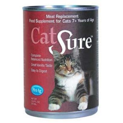 Petag Presents Catsure Liquid Meal Replacements 12oz. Cat Owners will do just About Anything to Keep their Feline Friends Healthy and Happy. Now there is Catsure Nutritional Supplement Formulated to Meet the Nutrient Needs of Aging Cats. This Completely Balanced Liquid Nutritional Diet Gives Senior Cats the Essential Nutrients and Fluid Intake they Require to Keep Purring through the Years. Catsure Comes in Convenient 12 Oz. Cans from the Maker of Kmr. Cats Love it for its Highly Palatable Rich and Creamy Vanilla Flavor. You'll Love it for the Way it Moves off your Shelves. Longevity Fact Cats are Living Longer Due to Advances in Health Care, Nutrition and Environment (I.E. More Indoor-only Cats). It's Vital they Receive the Right Nutrients to Maintain Health as they Age.  High in Antioxidants  Healthy Level of Omega 3 &amp; 6 Fatty Acids.  Contains Flaxseed Oil, a Great Source of Dha  Supports Necessary Fluid Intake  Lactose-Free for Sensitive Animals; Milk Proteins for Easy Digestibility  High Quality Protein with Amino Acids Adjusted for Better Utilization  Provides Essential Vitamins and Minerals  Promotes Healthy Skin and Coat  Formulated to Compliment Regular Diets. 317 Kcals / 12 Oz Can [18560]