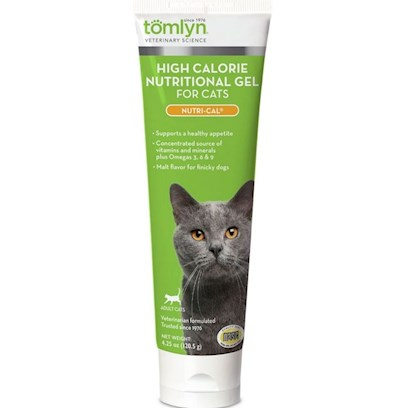 Tomlyn Presents Nutri-Cal for Cats 4.25oz Tube. The Veterinary Standard in Dietary Supplements for Cats. High Calorie Dietary Supplement Provides Extra Energy and Nutrition in an Easily Digested, Great Tasting Gel. The Veterinary Standard for Appetite Stimulation. Provides Balanced Nutrition to Help Pets Stay Happy, Healthy and Energetic. Nutrical for Cats is an Energizer for all Seasons. [18565]