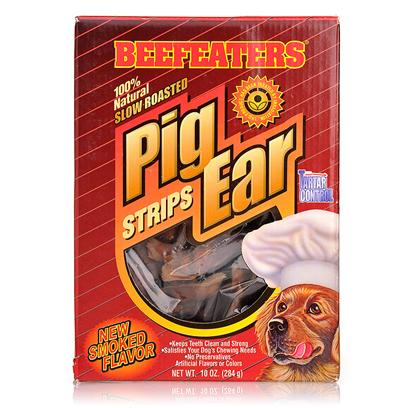 "Beefeaters Presents Pig Ear Strips 10oz Box Beef. ""100% Natural. Slow Roasted & Basted in their Own Juices. No Preservatives, Artificial Flavors, or Colors. Keeps Teeth Clean & Strong. Helps Fight Tartar. Chewy Texture & Easily Digestible. They are a Natural Source of Protein."" [18609]"
