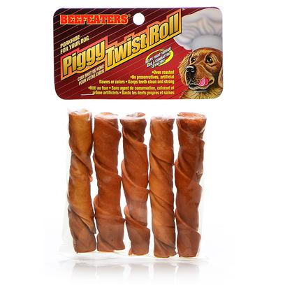 Beefeaters Presents Piggy Twist Roll 5' 5pk Beef Pig. • Dog Treats Giving your Dog a Safe Chew Toy is Perhaps One of the Wisest Decisions you can Make Regarding his Health • Rawhide not only Provides a Safe Chewing Environment • it also is an Effective Tool in Helping to Reduce Tartar and Preventing Gum Disease • Supervise Dog when Giving them a Treat [18610]