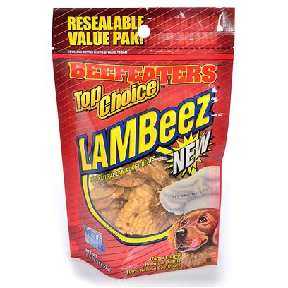 Beefeaters Presents Top Choice Lambeez Beef Tc Lamb Lungs 1.5oz. Resealable Value Pack 6 Packs Per Inner, Inner is a Counter Display Top Choice, 100% Natural Body Parts. Individually Packaged in Shrink Wrap &amp; then a Heavy Poly Bag W/Hang Tag [18634]