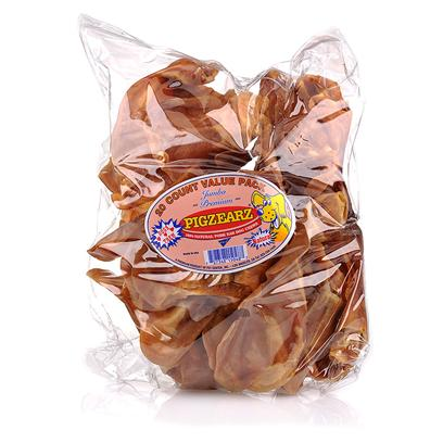 Pet Center Inc. Presents Large Pig Ears Large-100/Cs. Pig Ears have Become One of the Most Popular Dog Treats in the World. Our Choice Pig Ears are 100% U.S. Pork and Irrestible to Dogs. Comes Loose in a 100 Count Bulk Box. [18655]